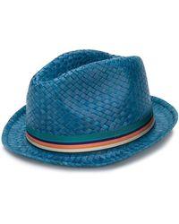 Paul Smith Woven Fedora Hat - Blue