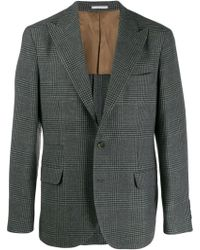 Brunello Cucinelli Checked Wool Blend Jacket - Grey