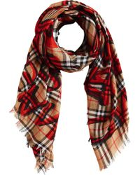 Burberry - Check Scarf - Lyst
