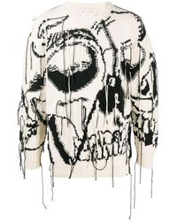 Alexander McQueen Exploded Skull Intarsia Sweater - White