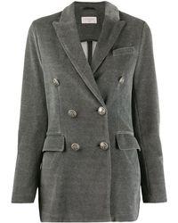 Circolo 1901 Velvet Double-breasted Blazer - Grey