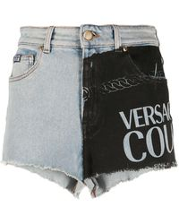 Versace Jeans Panelled Denim Shorts - Blue
