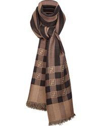 Fendi Ff Motif Striped Scarf - Brown