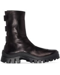MANU Atelier Moon Boot Leather Ankle Boots - Black
