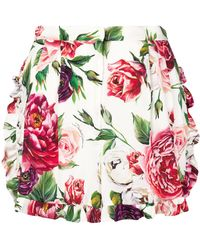 Dolce & Gabbana - Printed Charmeuse Shorts - Lyst
