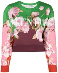 Valentino Floral Logo-print Cropped Sweatshirt - Green