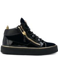 89e0b4ab15ec Giuseppe Zanotti - Studded Suede And Leather Wedge Sneakers - White ...