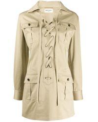 Saint Laurent Lace-up Detail Shirt Dress - Natural