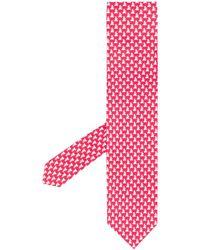 Ferragamo Dog Print Tie - Red