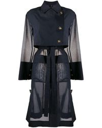 Eudon Choi Flap-pocket Belted Organza Trench Coat - Blue