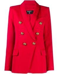 Balmain Blazer doppiopetto in lana - Rosso