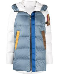 Peuterey Upcycle Colour-block Puffer Jacket - Blue