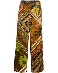 Seventy Pantaloni a gamba ampia a fiori - Marrone