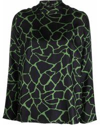 Alberto Biani Animal-print Roll-neck Silk Top - Black