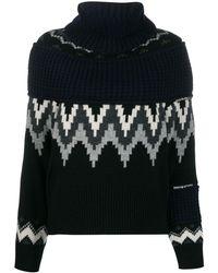 Sacai Fair Isle Asymmetric Zip Jumper - Black