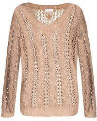 Brunello Cucinelli Open-knit V-neck Sweater - Brown
