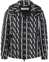 Valentino Vltn Print Hooded Down Jacket - Black