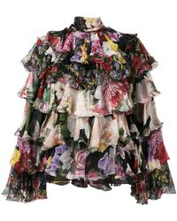Dolce & Gabbana - Tiered Floral Blouse - Lyst