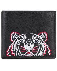 KENZO Tiger Leather Fold Wallet - Black