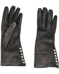Valentino Garavani Rockstud Leather Gloves - Black