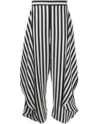 Stella McCartney Alicia Draped-panel Striped Pants - Black