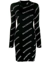 Balenciaga Logo Print Mini Dress - Black