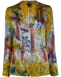 Avant Toi Printed Distressed Style Blazer - Metallic