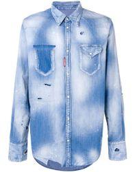 40119642c8 Lyst - DSquared² Distressed Denim Shirt in Blue for Men