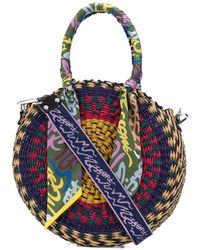 M Missoni Patterned Round Woven Tote - Purple