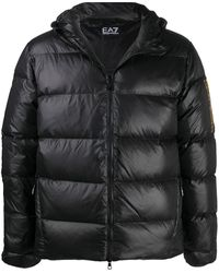 EA7 Feather Down Hooded Jacket - Black