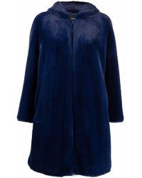 Emporio Armani Faux Fur Coat - Blue