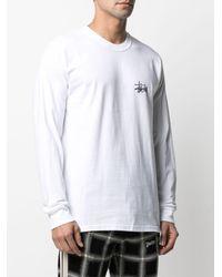 Stussy Logo Print Long-sleeved Cotton Top - White