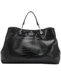 Emporio Armani Crocodile-effect Tote Bag - Black