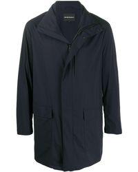 Emporio Armani Straight Fit Rain Coat - Blue