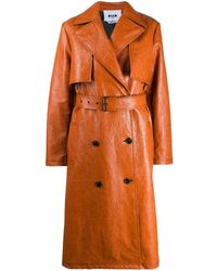 MSGM Belted Trench Coat - Brown