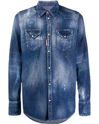 DSquared² Distressed Effect Denim Shirt - Blue
