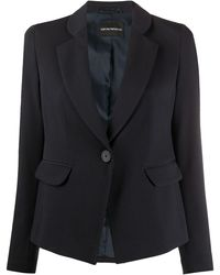 Emporio Armani Tailored Single-breasted Blazer - Blue