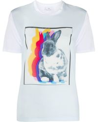 PS by Paul Smith T-shirt Rabbit Shadow con design color-block - Bianco