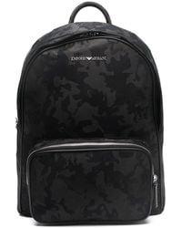 Emporio Armani Camouflage-print Logo Backpack - Black
