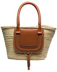 Chloé Neutrals Brown Marcie Straw Leather Basket Bag