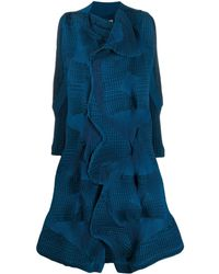 Issey Miyake Checked Pleated Coat - Blue