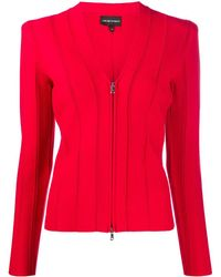 Emporio Armani Ribbed Fitted Jacket - Red