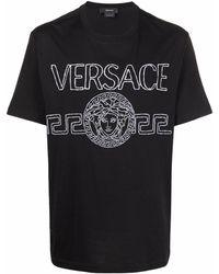 Versace - Logo-embroidered T-shirt - Lyst
