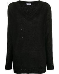 Brunello Cucinelli Sequin-embellished Loose-fit Jumper - Black