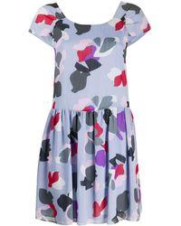 Emporio Armani Floral Printed Mini Dress - Purple