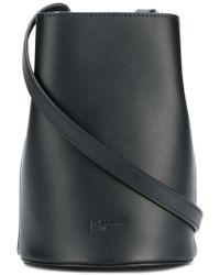 Jil Sander Navy Leather Satchel Bag - Black