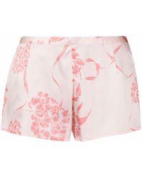La Perla Floral Silk Shorts - Pink