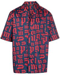 Palm Angels Logo-print Short-sleeve Bowling Shirt - Blue