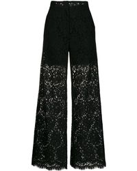 Dolce & Gabbana Floral Lace Pattern Trousers - Black