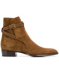 Saint Laurent Wyatt Suede Ankle Boots - Brown